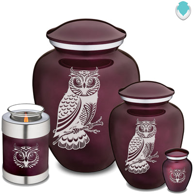 Adult Embrace Cherry Purple Owl Cremation Urn