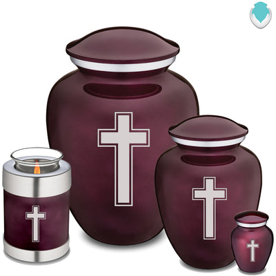 Medium Cherry Purple Embrace Simple Cross Cremation Urn