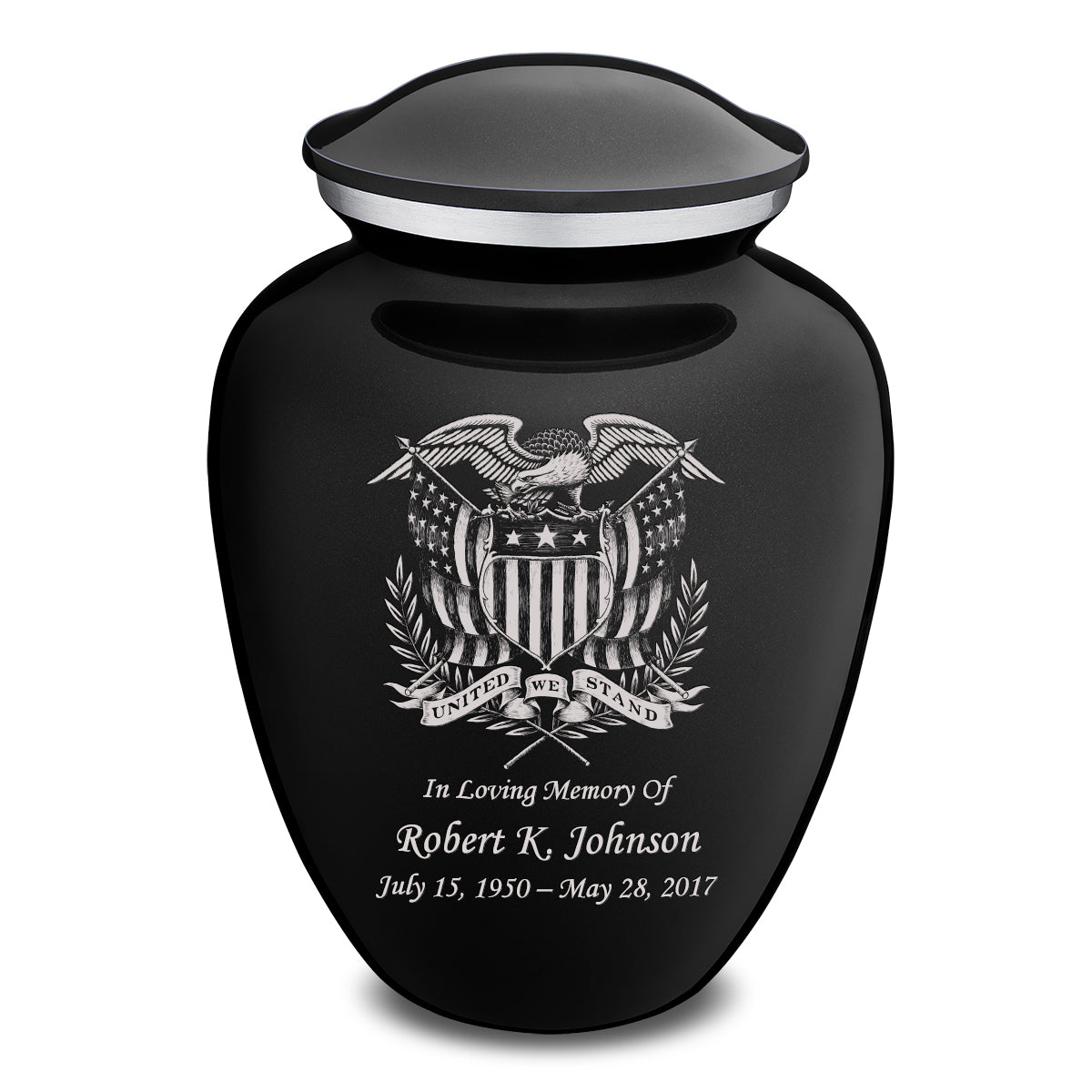 Adult Embrace Black American Glory Cremation Urn