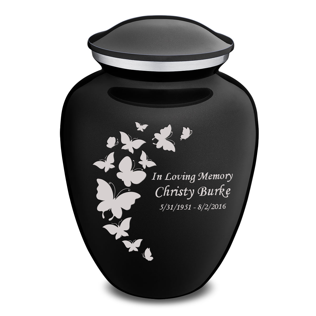 Adult Embrace Black Butterfly Cremation Urn