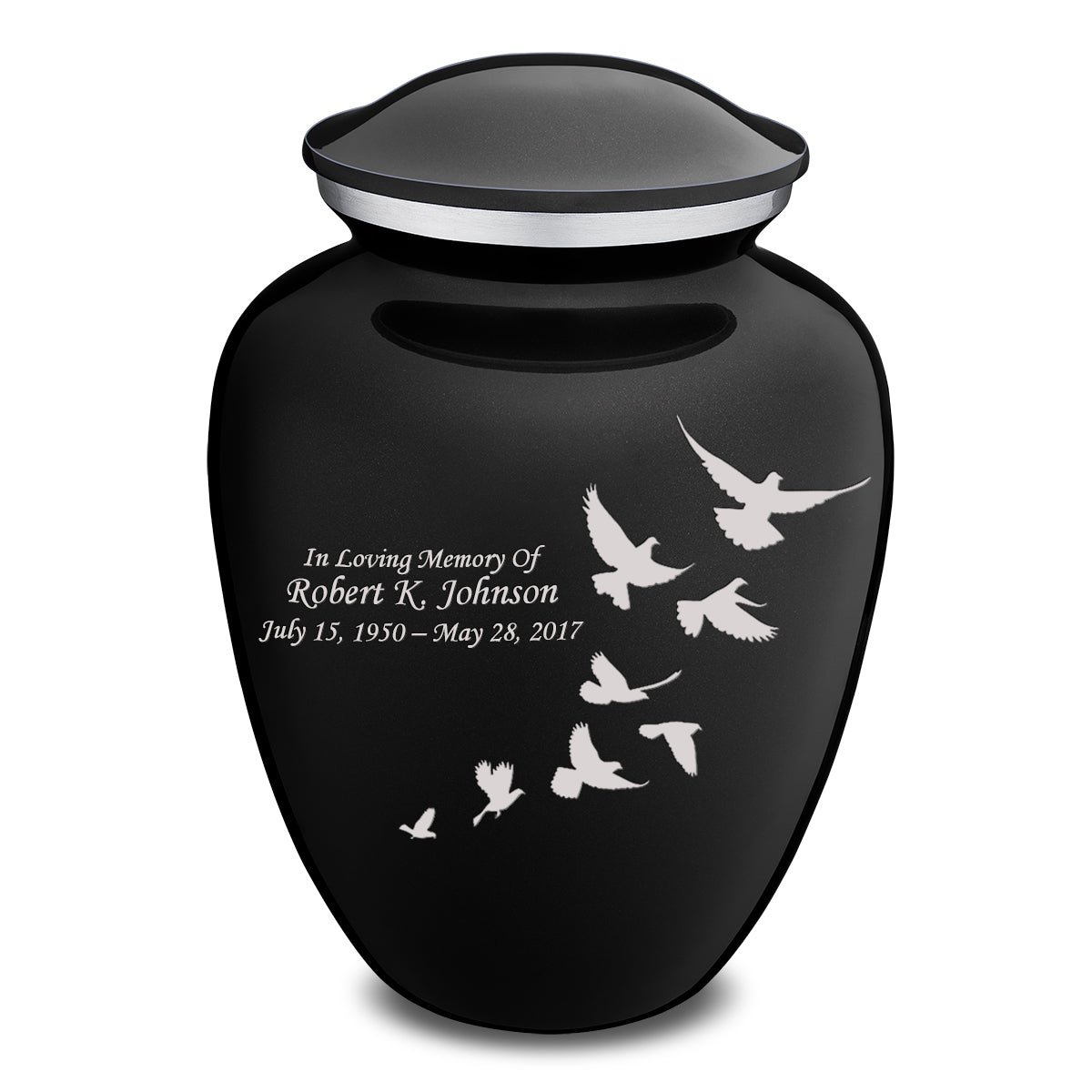 Adult Embrace Black Doves Cremation Urn