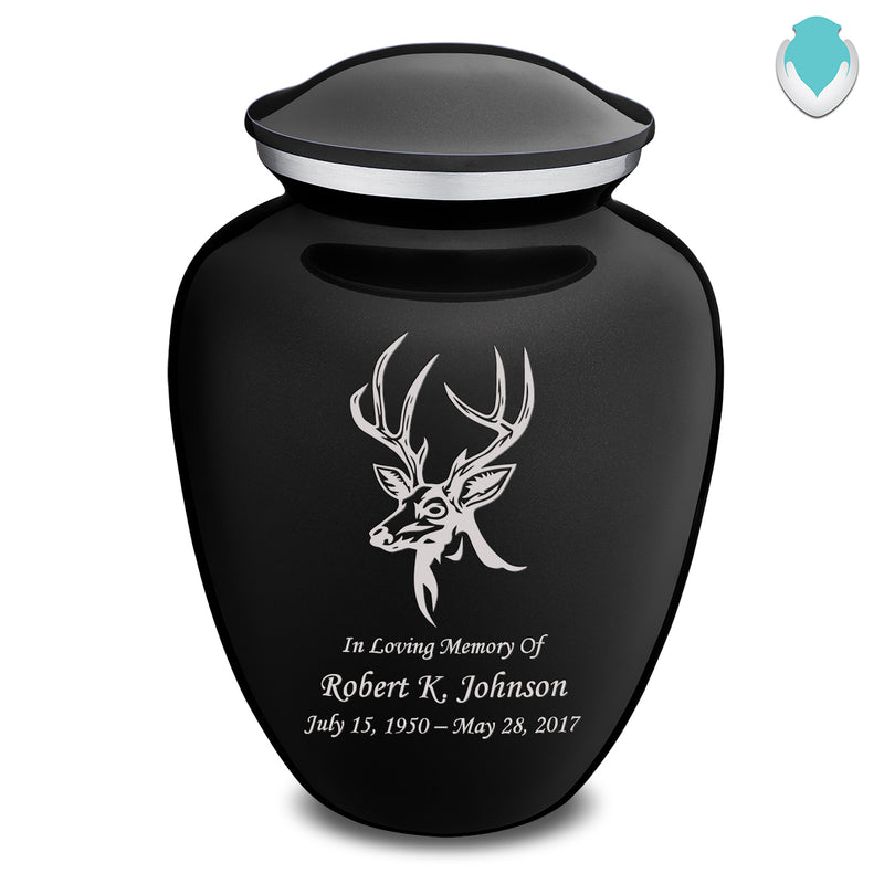 Adult Embrace Black Deer Cremation Urn