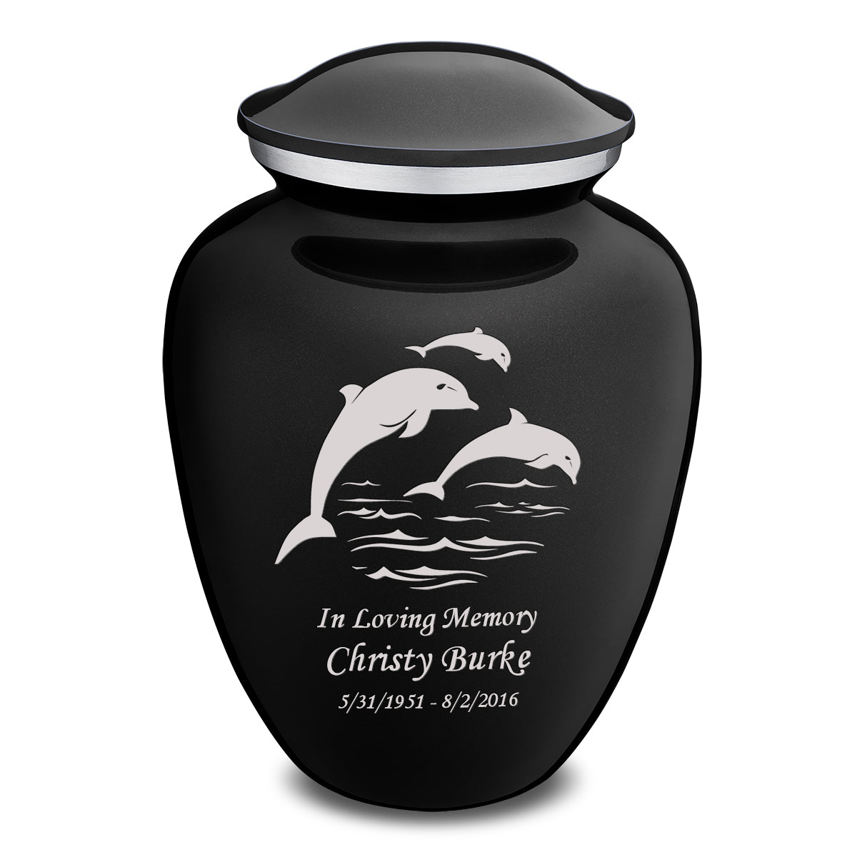 Adult Embrace Black Dolphins Cremation Urn
