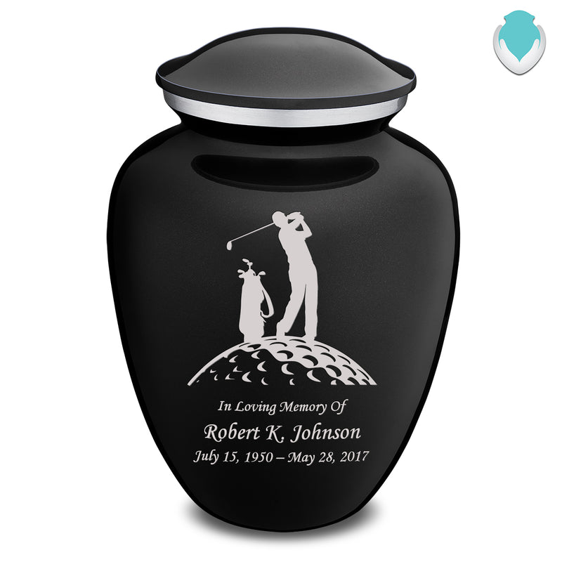 Adult Black Embrace Golfer Cremation Urn
