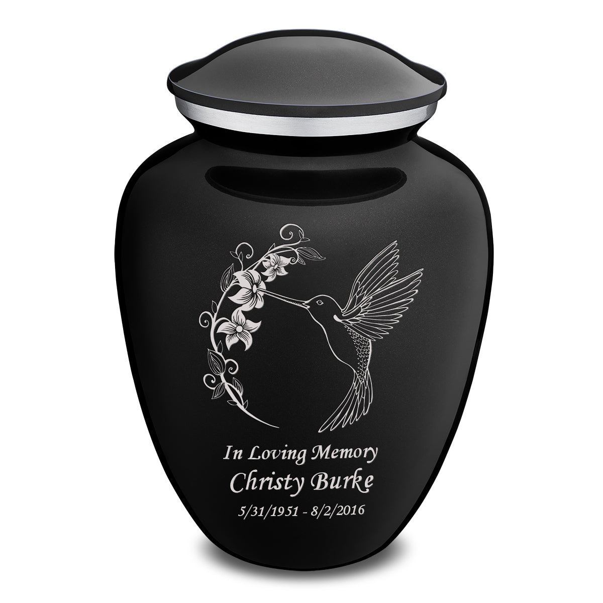 Adult Embrace Black Hummingbird Cremation Urn
