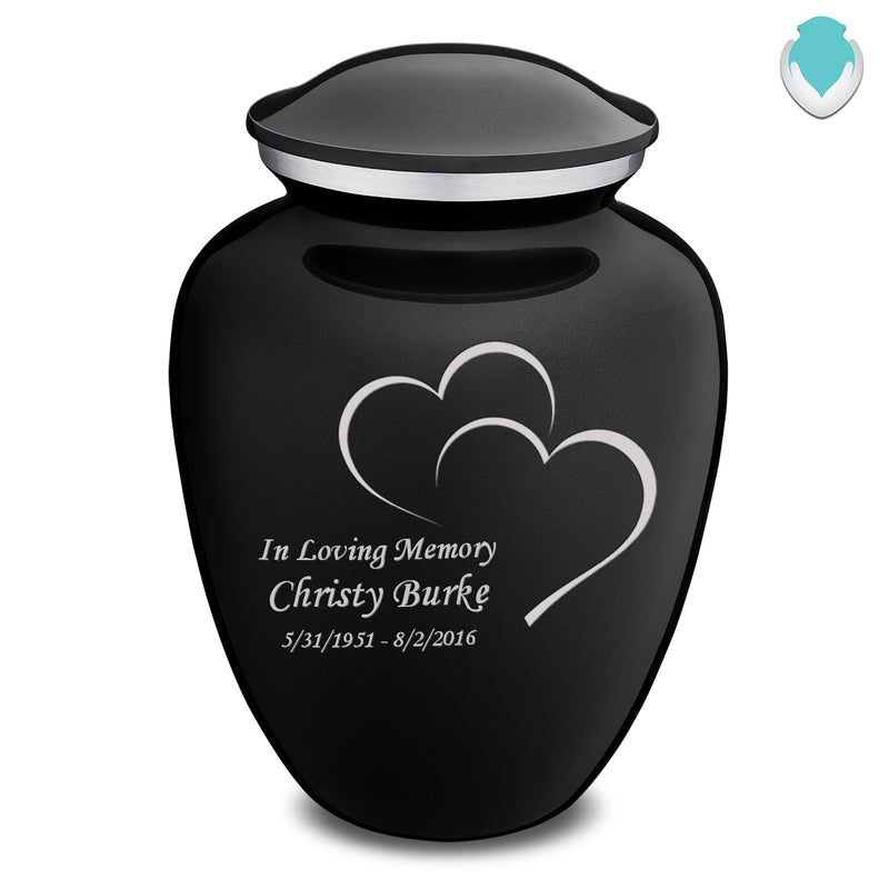 Adult Embrace Black Hearts Cremation Urn
