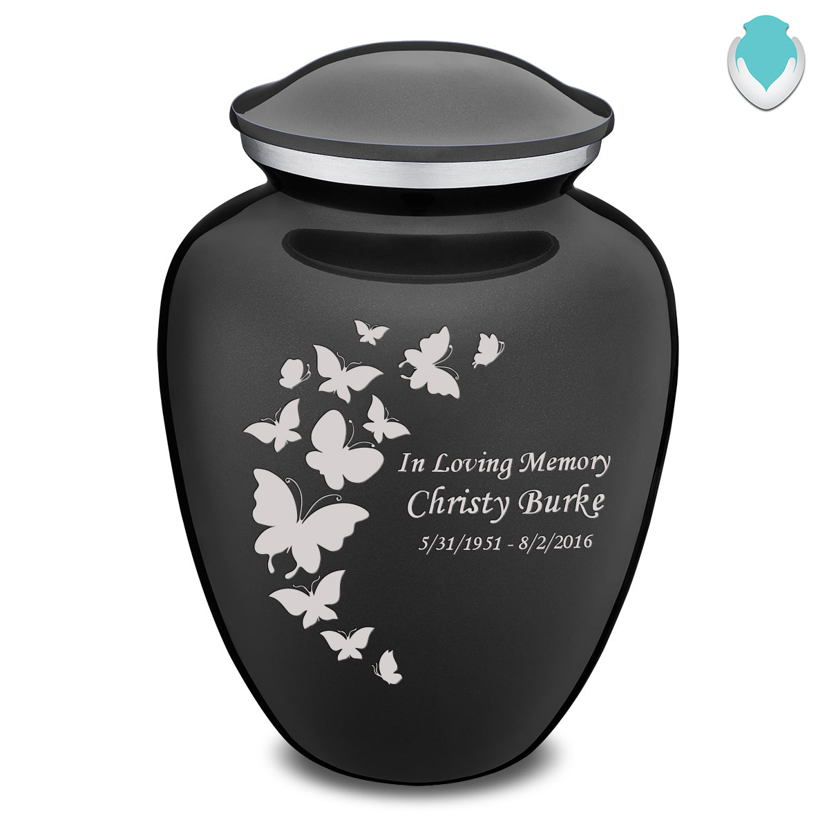 Adult Embrace Charcoal Butterfly Cremation Urn