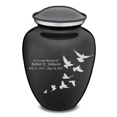 Adult Embrace Charcoal Doves Cremation Urn