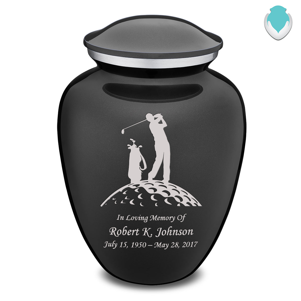 Adult Charcoal Embrace Golfer Cremation Urn