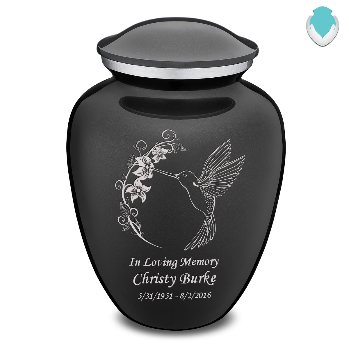 Adult Embrace Charcoal Hummingbird Cremation Urn