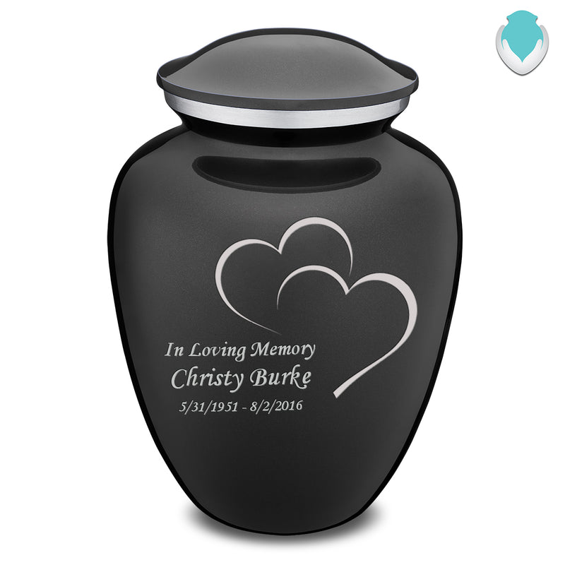 Adult Charcoal Embrace Hearts Cremation Urn