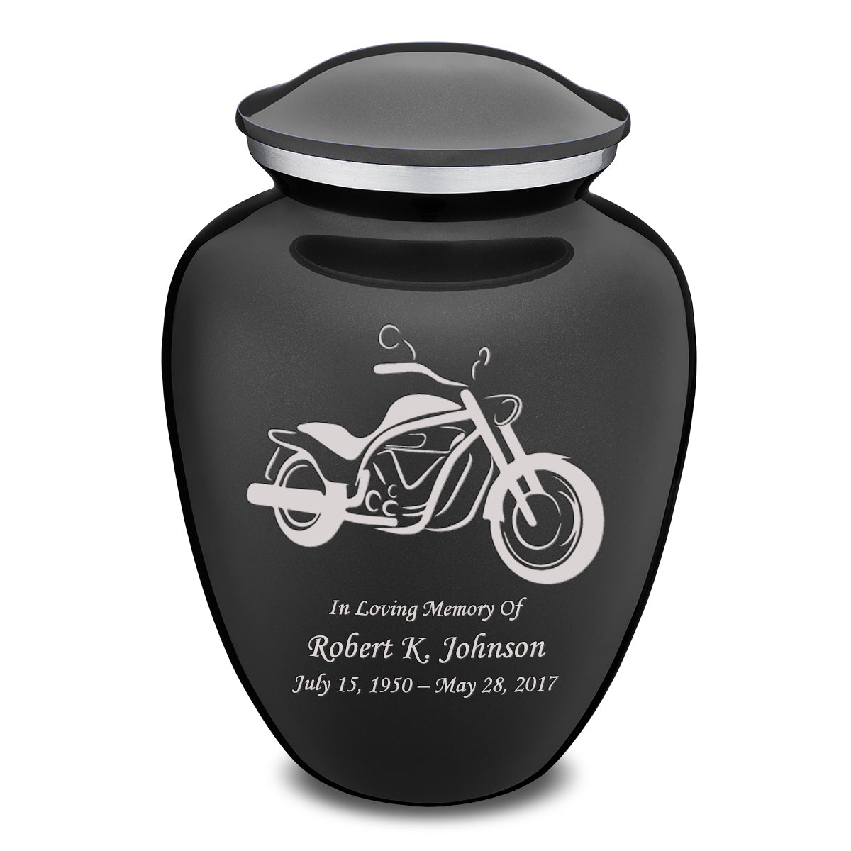 Adult Embrace Charcoal Motorcycle Cremation Urn
