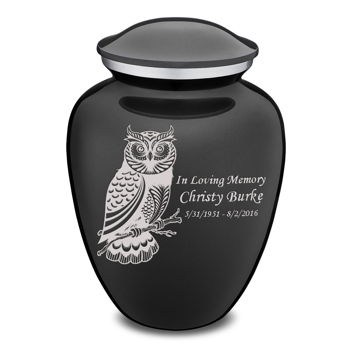 Adult Embrace Charcoal Owl Cremation Urn