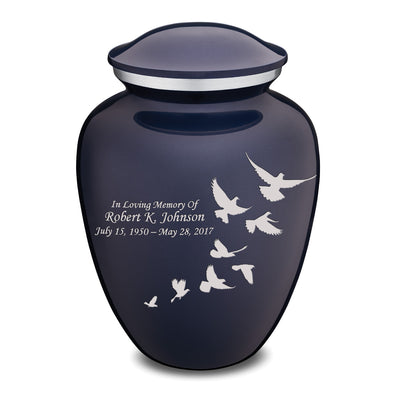 Adult Embrace Cobalt Blue Doves Cremation Urn