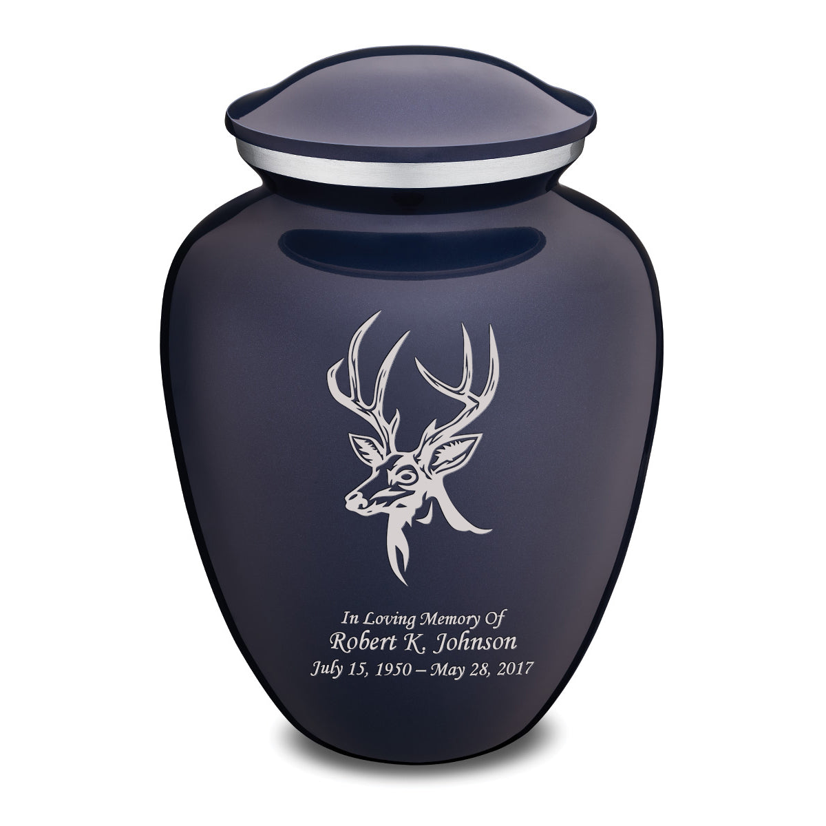 Adult Embrace Cobalt Blue Deer Cremation Urn