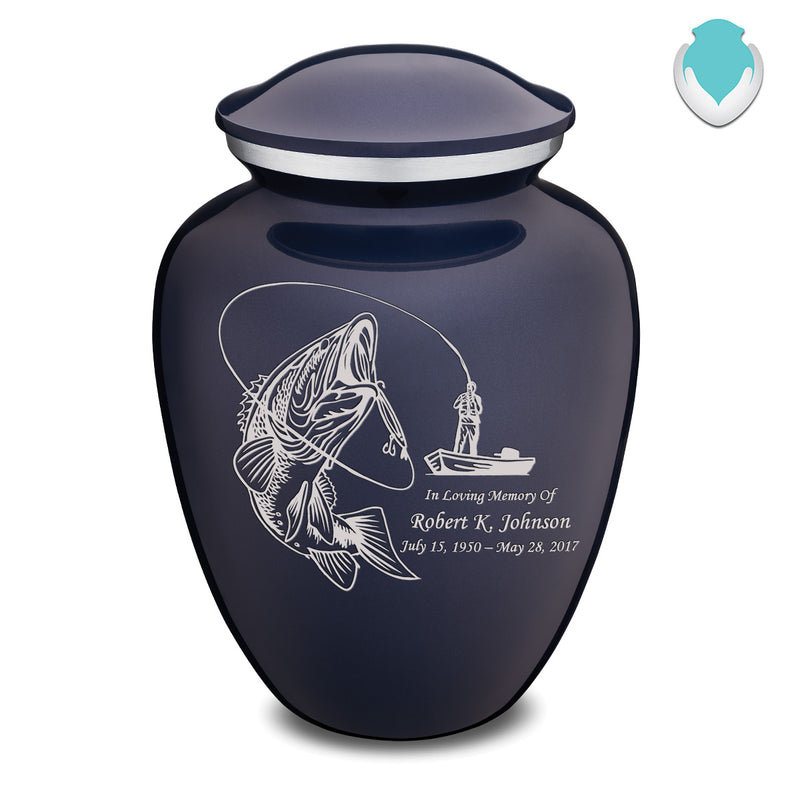 Adult Embrace Cobalt Blue Fishing Cremation Urn