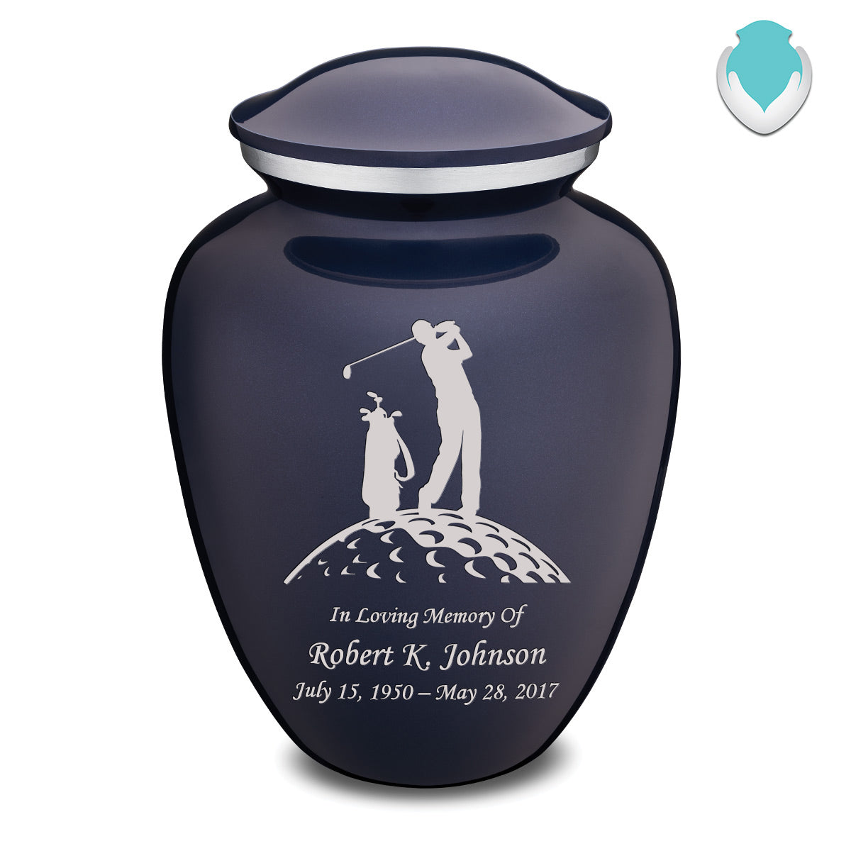 Adult Cobalt Blue Embrace Golfer Cremation Urn