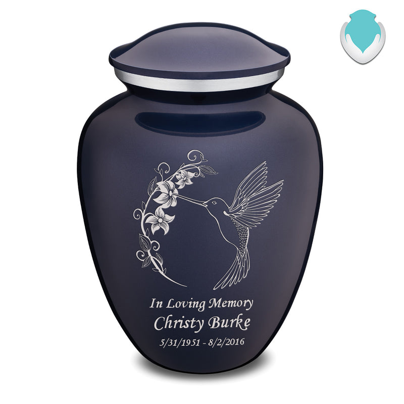 Adult Embrace Cobalt Blue Hummingbird Cremation Urn