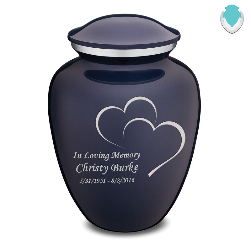 Adult Cobalt Blue Embrace Hearts Cremation Urn