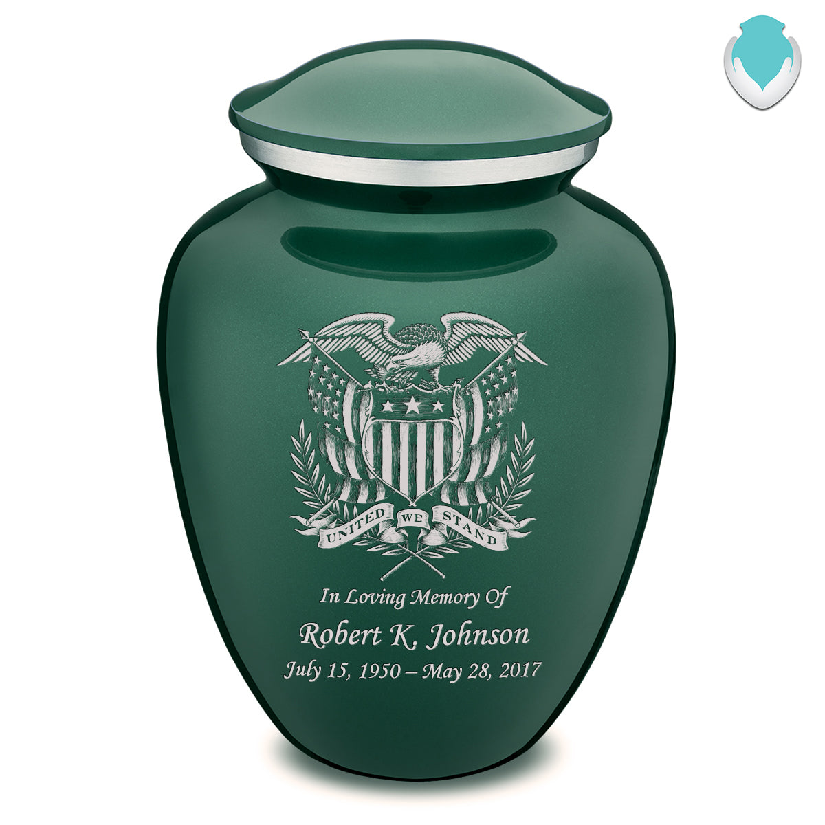 Adult Embrace Green American Glory Cremation Urn