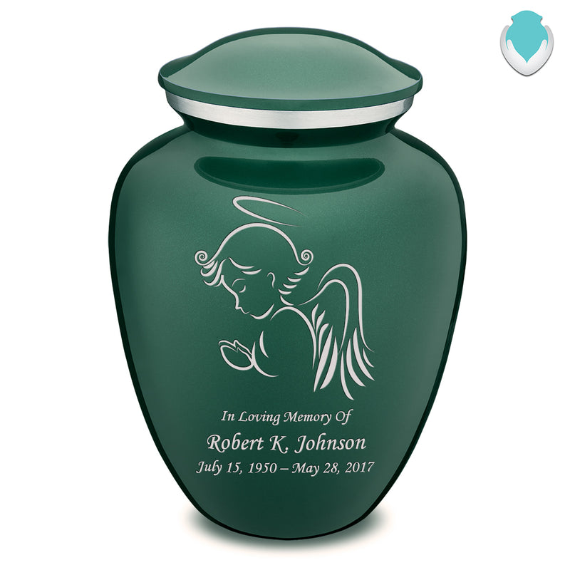Adult Green Embrace Angel Cremation Urn