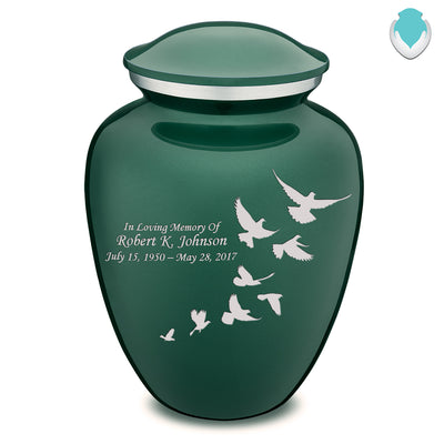 Adult Embrace Green Doves Cremation Urn