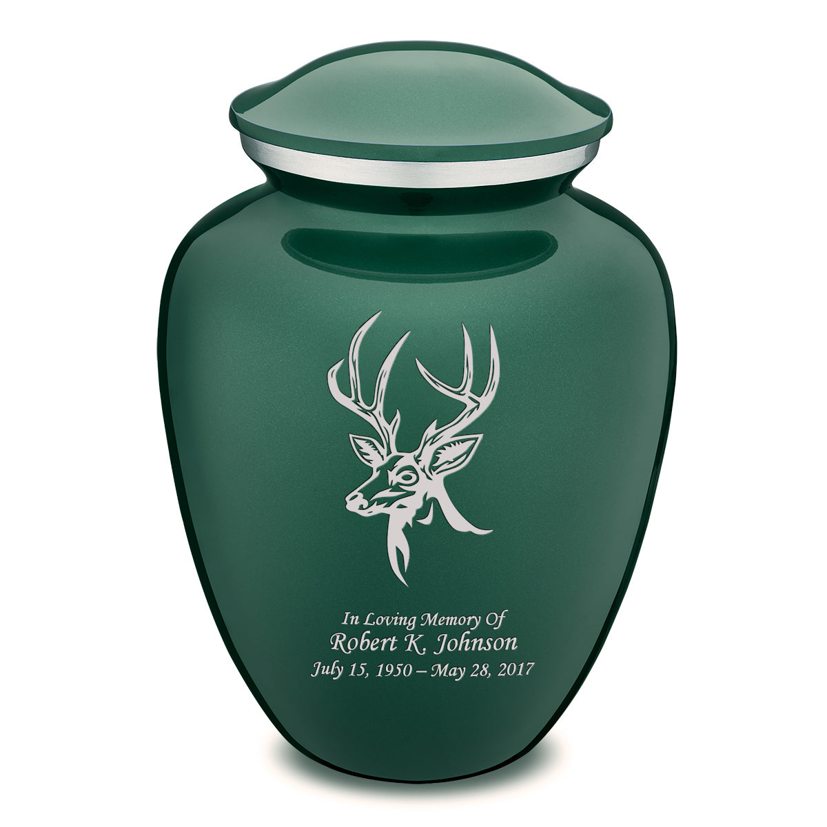 Adult Embrace Green Deer Cremation Urn