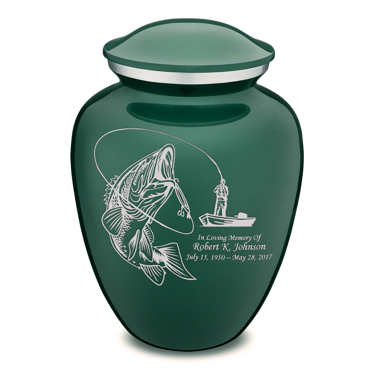 Adult Embrace Green Fishing Cremation Urn