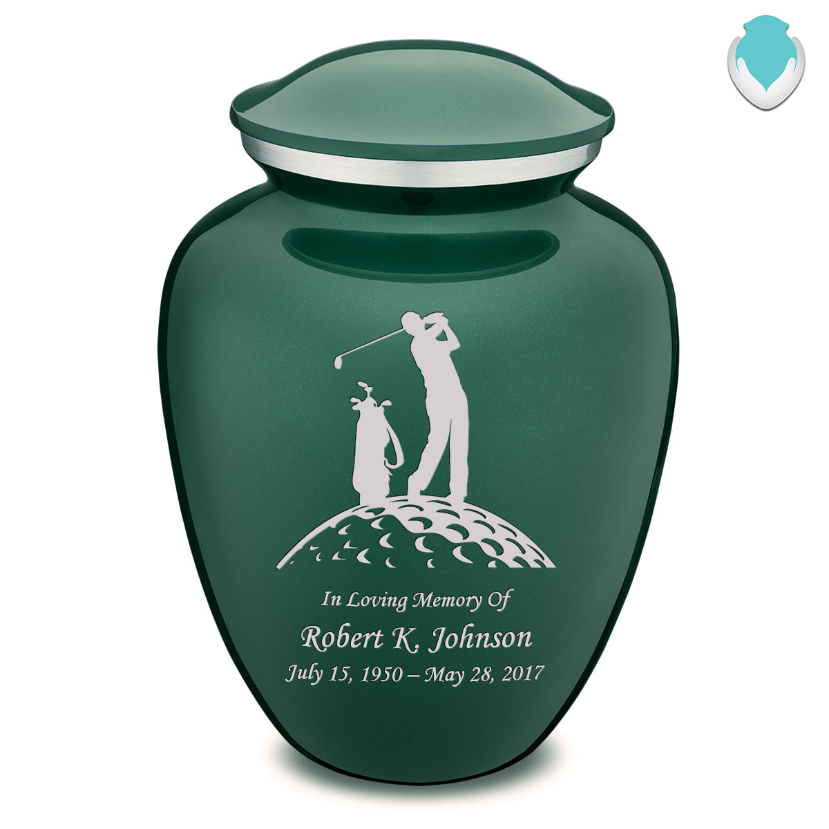 Adult Green Embrace Golfer Cremation Urn