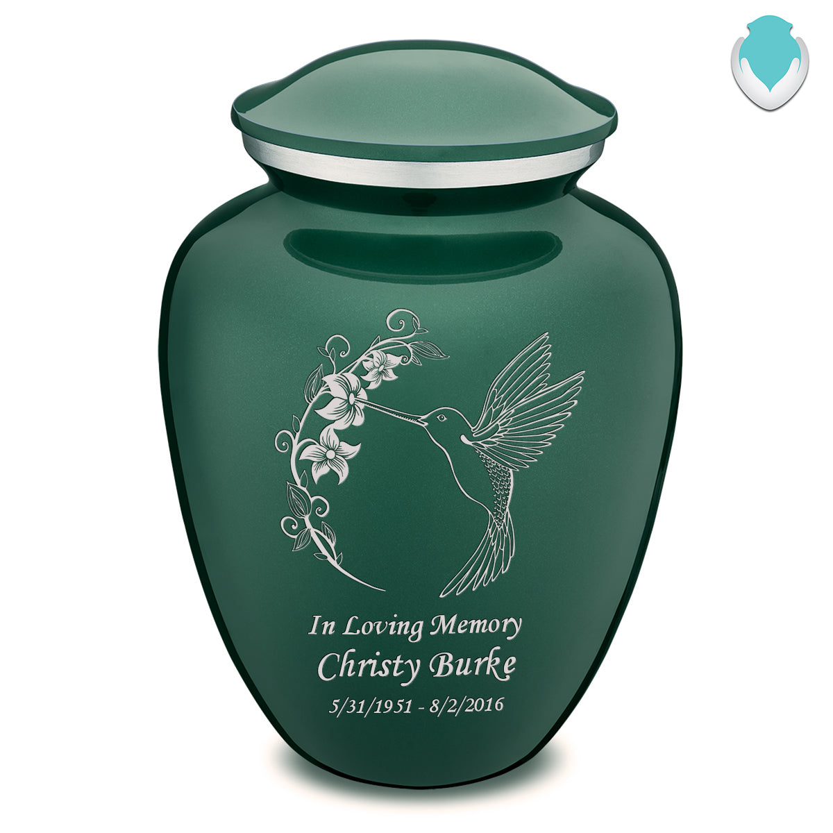 Adult Embrace Green Hummingbird Cremation Urn