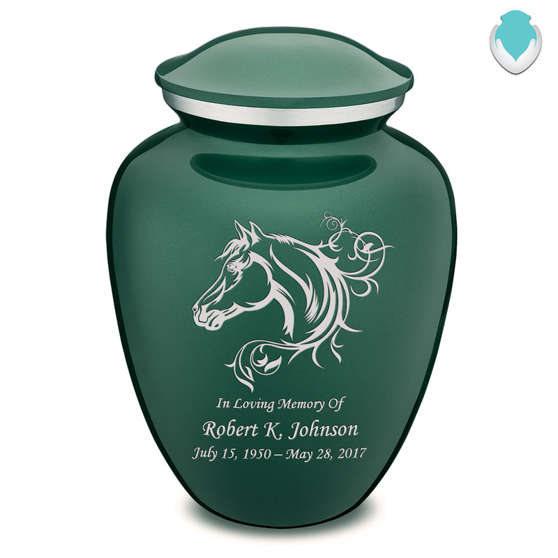 Adult Embrace Green Horse Cremation Urn