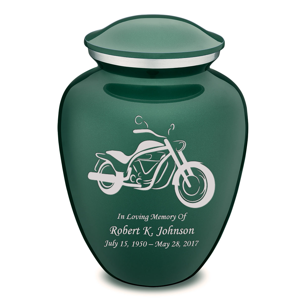 Adult Embrace Green Motorcycle Cremation Urn
