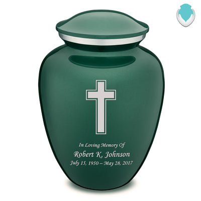 Adult Green Embrace Simple Cross Cremation Urn