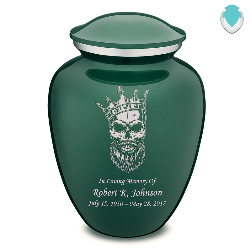 Adult Embrace Green Skull Cremation Urn