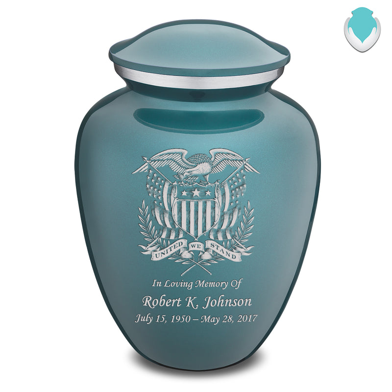 Adult Embrace Teal American Glory Cremation Urn
