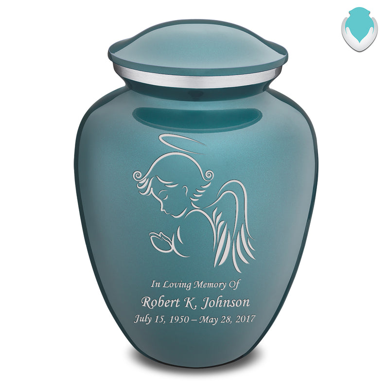Adult Teal Embrace Angel Cremation Urn