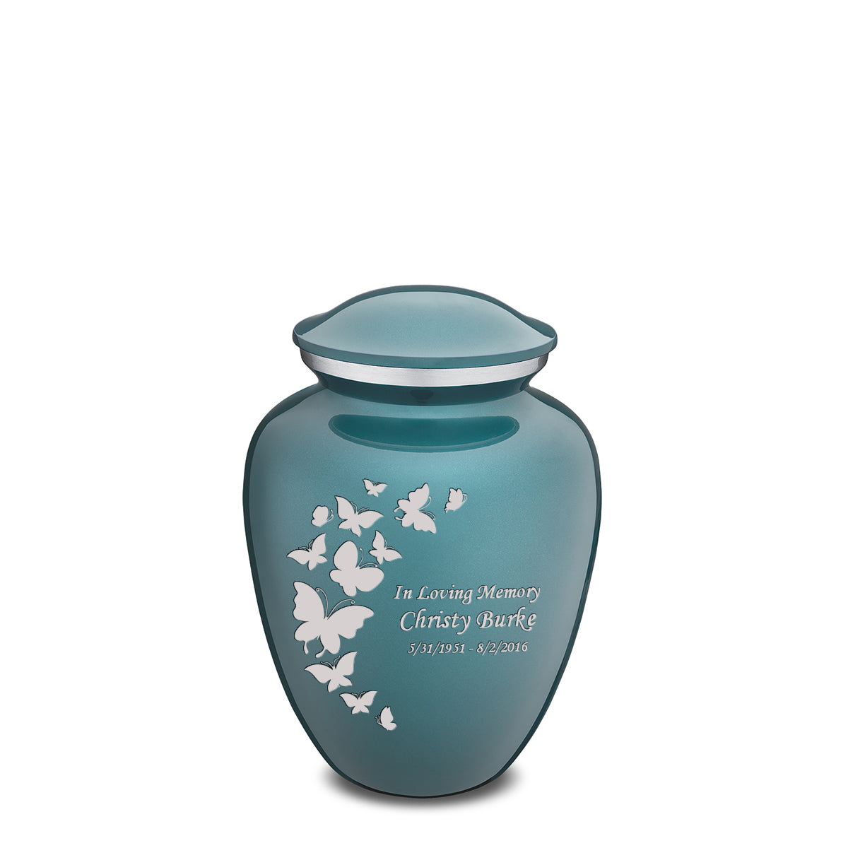 Medium Embrace Teal Butterfly Cremation Urn