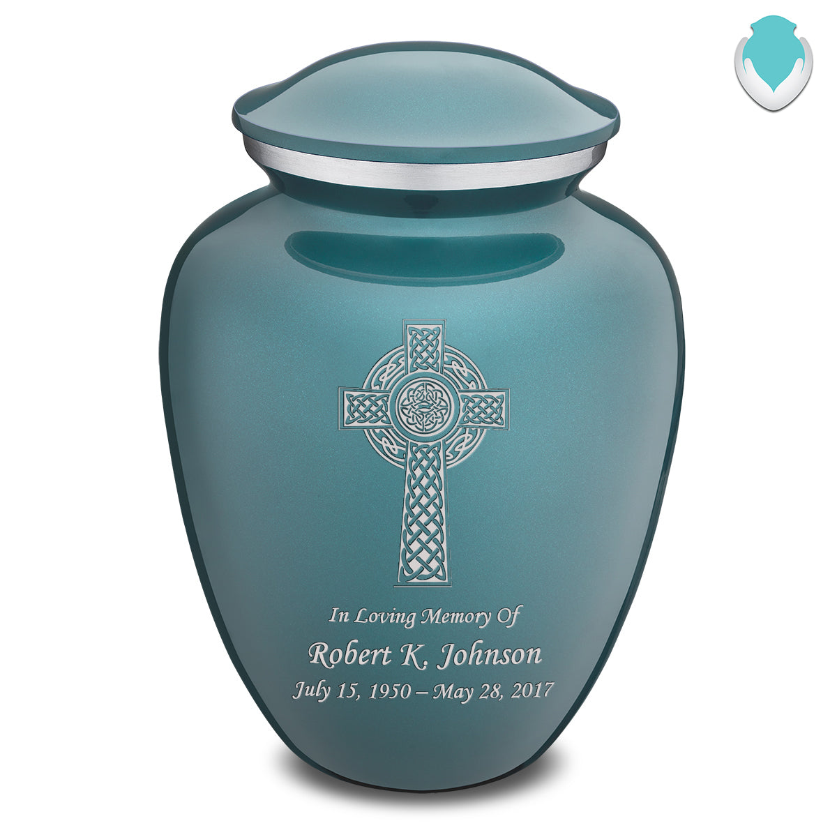 Adult Teal Embrace Celtic Cross Cremation Urn