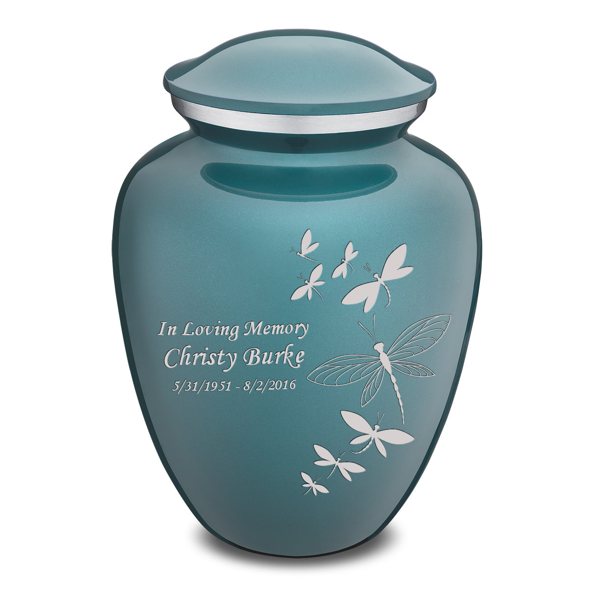 Adult Embrace Teal Dragonflies Cremation Urn