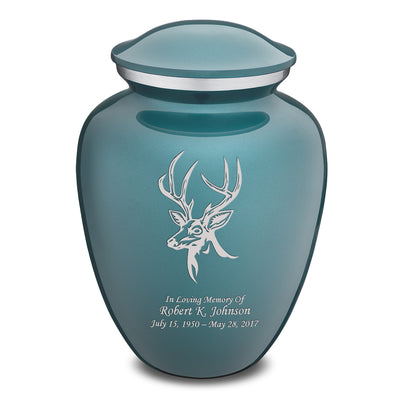 Adult Embrace Teal Deer Cremation Urn