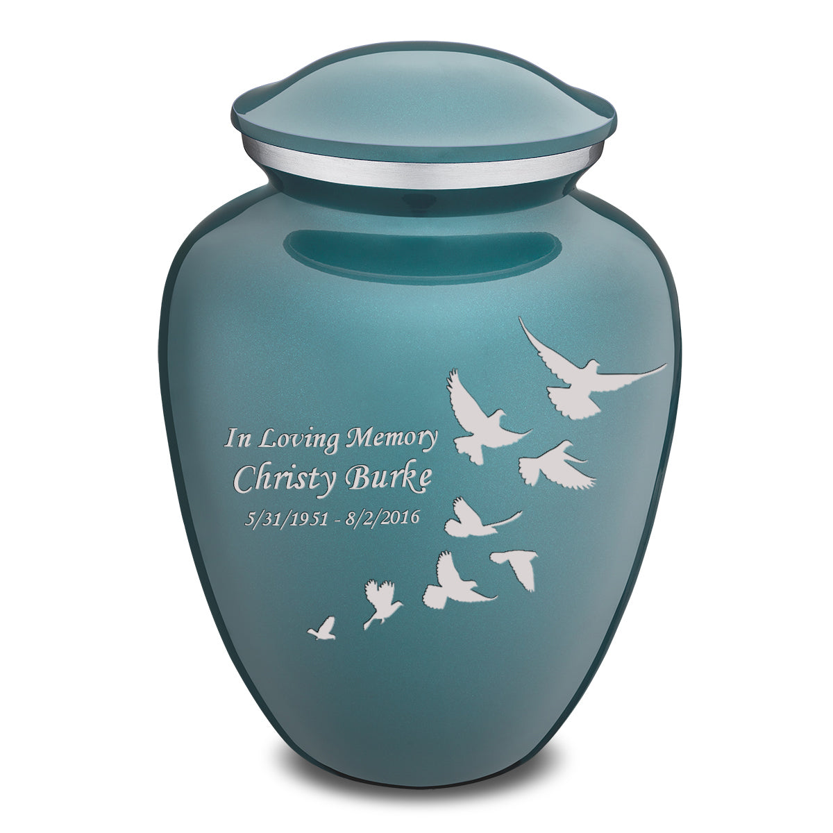 Adult Embrace Teal Doves Cremation Urn