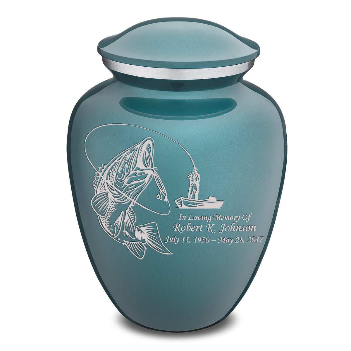 Adult Embrace Teal Fishing Cremation Urn