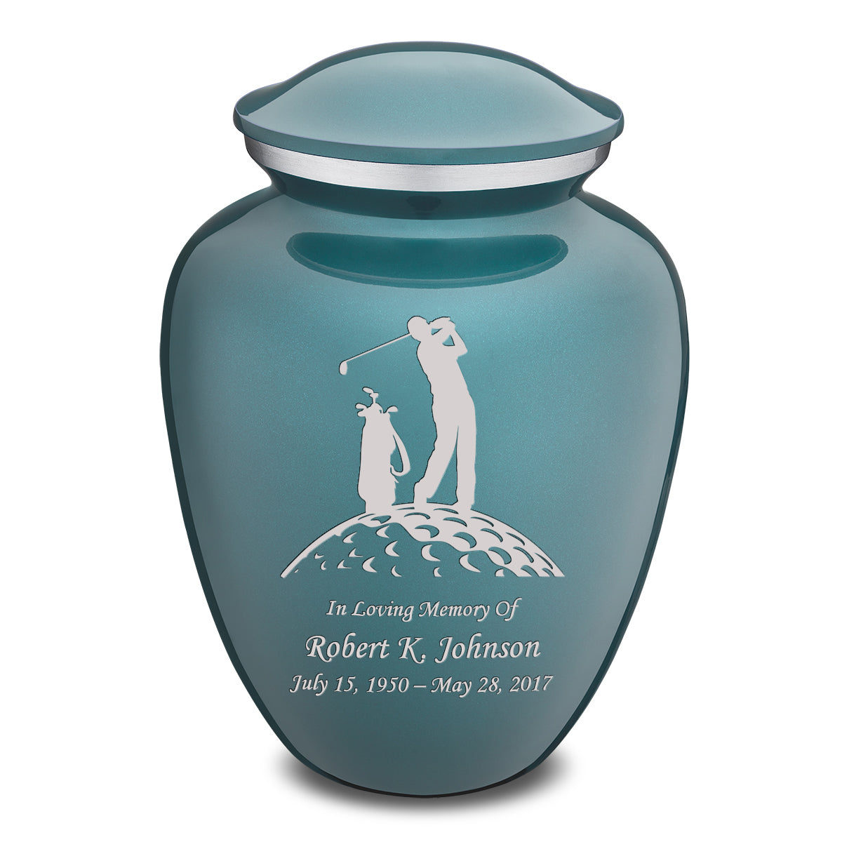 Adult Teal Embrace Golfer Cremation Urn
