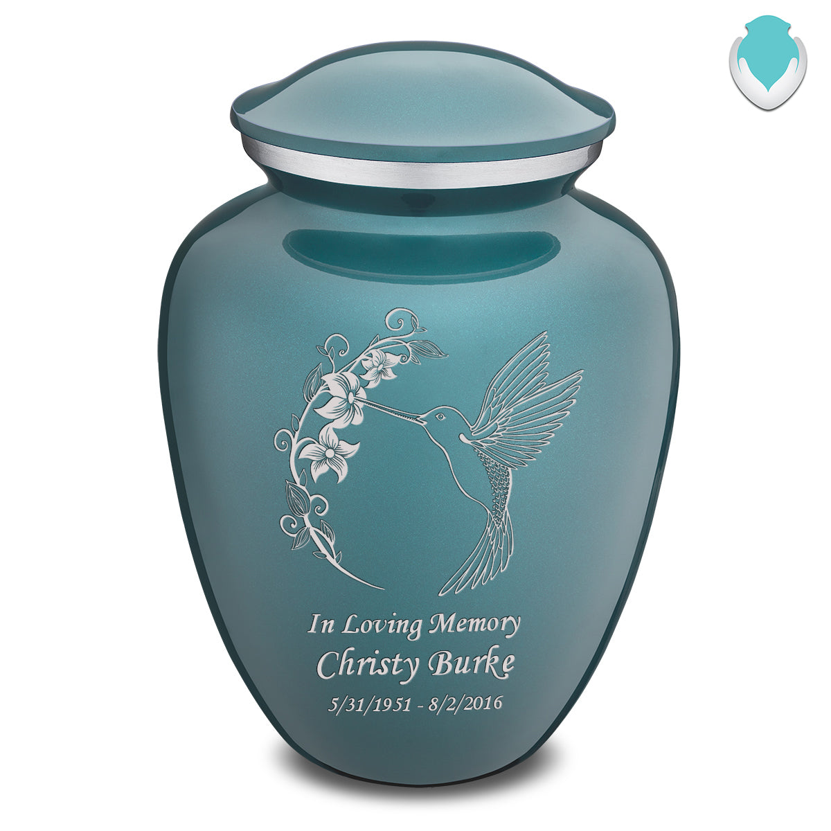 Adult Embrace Teal Hummingbird Cremation Urn