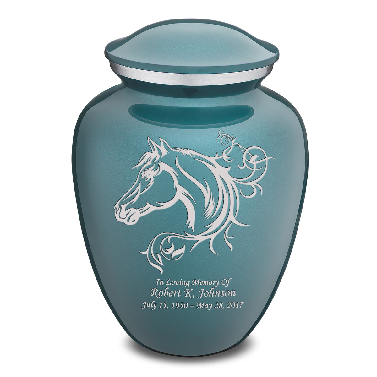 Adult Embrace Teal Horse Cremation Urn