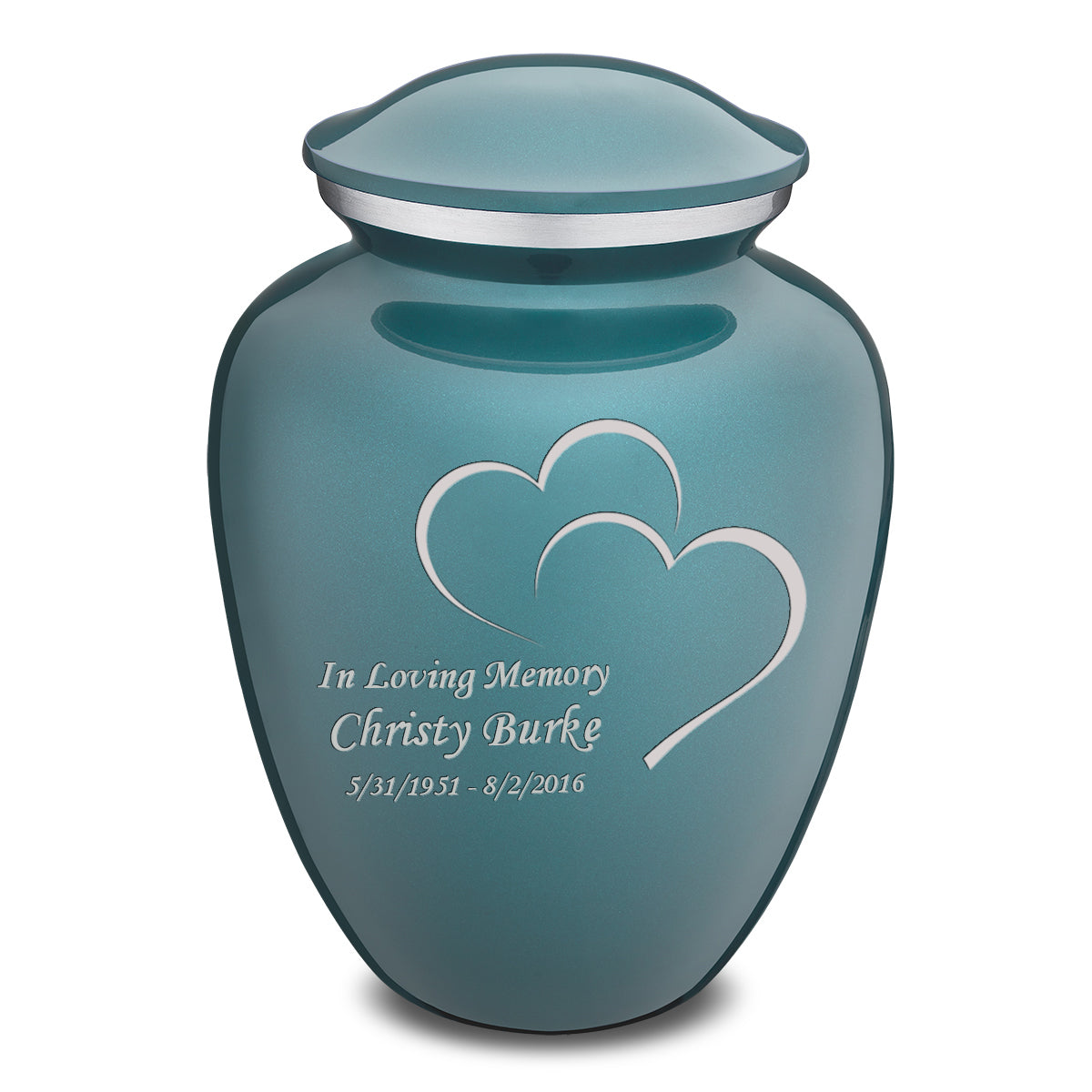 Adult Teal Embrace Hearts Cremation Urn