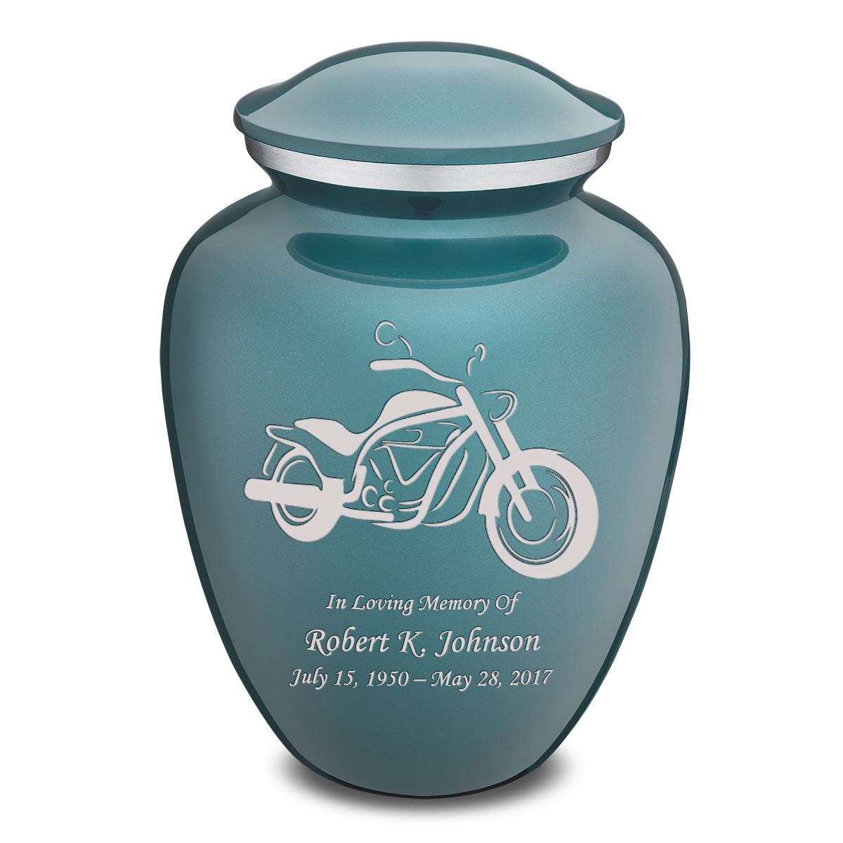 Adult Embrace Teal Motorcycle Cremation Urn
