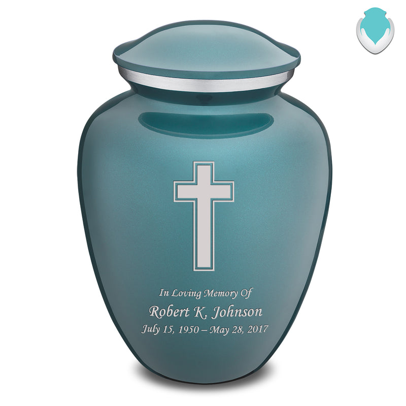Adult Teal Embrace Simple Cross Cremation Urn