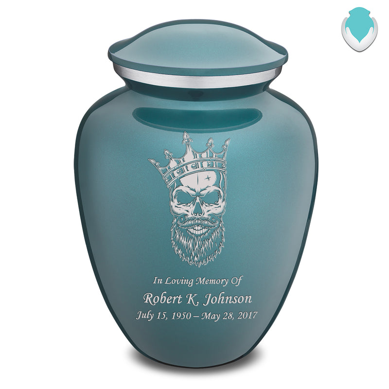 Adult Embrace Teal Skull Cremation Urn