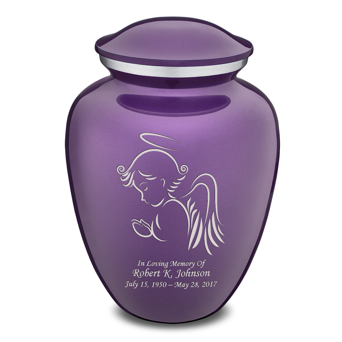 Adult Purple Embrace Angel Cremation Urn